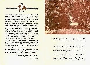 Padua Hills Promotional Flyer - Front