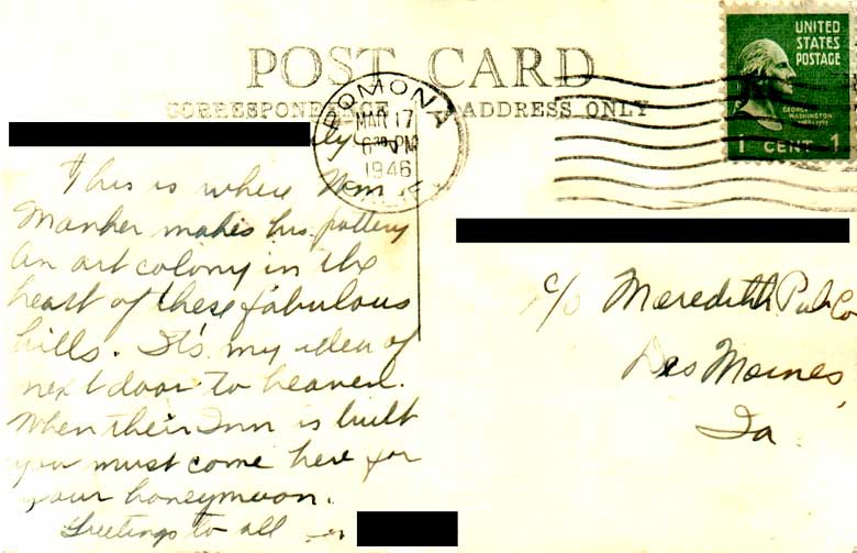 Back of postcard shown in Image #10