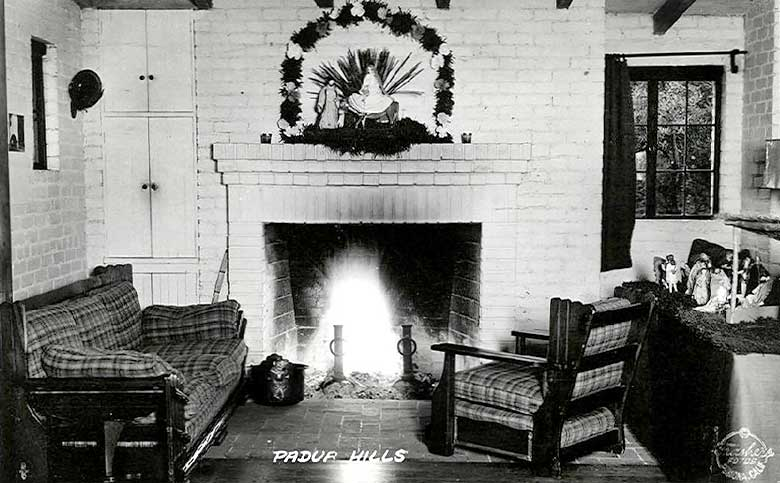 Theatre Image #14                            Historic Postcard of an inside fireplace                            Mailed in 1938